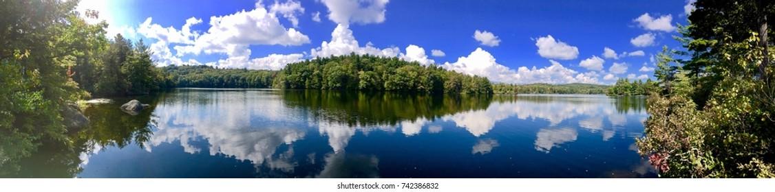 Burr pond state park beautiful panorama autumn views in Torrington Connecticut America.
