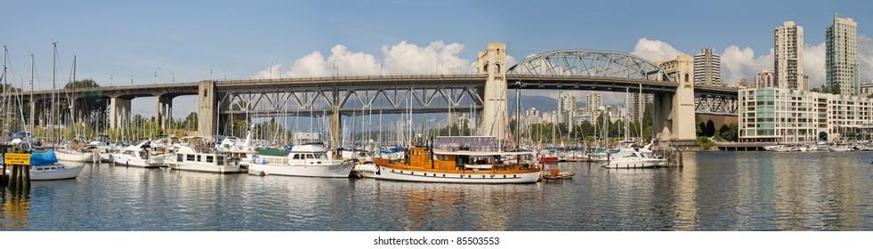 Burrard Street Bridge by Fishermen's Wharf in Vancouver BC Canada Panorama