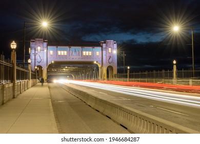 Burrard Street Bridge at night. Vancouver, British Columbia, Canada.