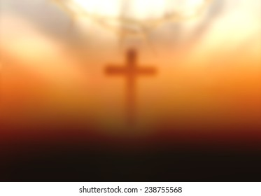 Burred cross with sun light symbol for Jesus Christ and christian.