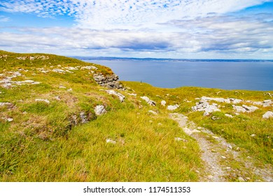 Burren way trail with Galway bay in background, Ballyvaughan, Clare, Ireland