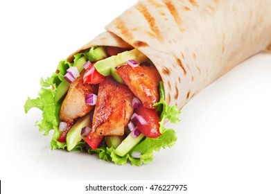 Burrito with grilled chicken and vegetables isolated on white background (fajitas, pita bread, shawarma)