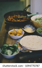 Burrito Night - vegetarian student meal with taco chips and wraps