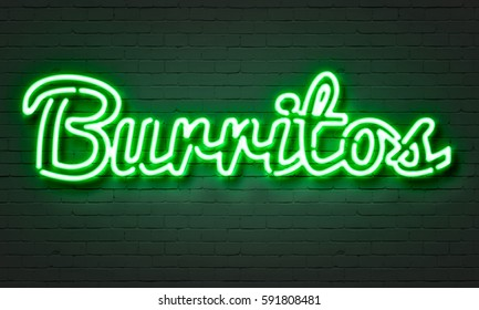 Burritos neon sign on brick wall background