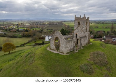 Burrow Mump is a hill and historic site overlooking Southlake Moor in the village of Burrowbridge within the English county of Somerset. The picture is a aerial picture take from a uav drone.
