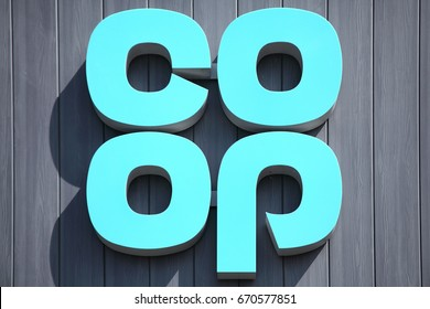 Burry Port, Wales, UK, July 1, 2017 :  Co Op logo advertising sign outside one of  its retail supermarket stores in the town centre