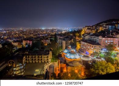 Bursa city night time view with lights in Turkey