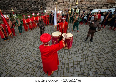 Bursa, Turkey - April 14, 2019; Turkish traditional music band (Mehter) in Ottoman costumes on April 14, 2019 in Osmangazi, Bursa, TURKEY. Mehter band is very popular in festivals in Turkey