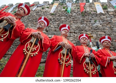 Bursa, Turkey - April 14, 2019; Turkish traditional music band Mehter in Ottoman costumes on April 14, 2019 in Osmangazi, Bursa, TURKEY. Mehter band is very popular in festivals in Turkey