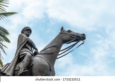 Bursa, Turkey - August 14, 2019: Bronze memorial statue of Mustafa Kemal Ataturk, the founder of the Republic of Turkey,  over the sky.