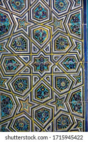 BURSA, TURKEY - FEBRUARY 23, 2020 : Close up view of Bursa Green Tomb (Mausoleum) of Ottoman Sultan Mehmet. It is famous with its Islamic art tiles in blue green color.