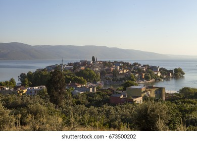 BURSA, TURKEY - JULY, 01, 2017: Golyazi (Apolyont), the center of the Apollo Kingdom during the Roman Empire, was founded on a small peninsula along the Uluabat lake (Apolyont lake).