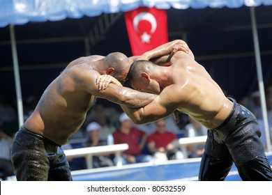 BURSA, TURKEY - JULY 3: Traditional Turkish Oily Wrestling Championship on July 3, 2011 in Bursa, Turkey.