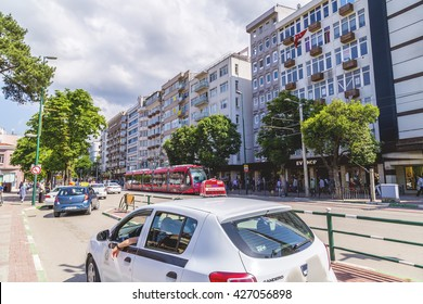 Bursa, Turkey - May 18, 2016: View of the central district of Bursa, Turkeyâ??s 4th largest city on May 18, 2016.