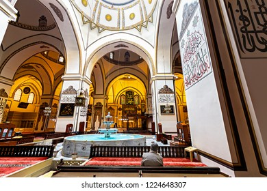 BURSA, TURKEY - NOVEMBER 06, 2018 : Great Mosque with Ottoman architecture. Mosque made with Islamic style and décorsion. Muslims pray in this mosque. Great architectural style of Bursa Ulu Cami.