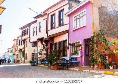BURSA, TURKEY - NOVEMBER 7, 2015: Old traditional houses in Mudanya, Bursa, Turkey.