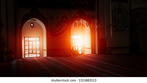 BURSA, TURKEY - OCTOBER 20,2014: interior view of Great Mosque (Ulu) Great Mosque is the largest mosque in Bursa and a landmark of early Ottoman architecture