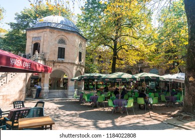 BURSA, TURKEY - SEPTEMBER 02, 2018 : View of Koza Han, historical bazaar (caravanserai) in Bursa and built in 1491 where you can find silk shops.