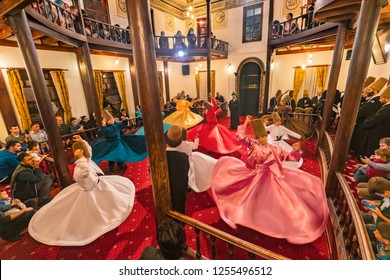Bursa Turkey,October 02,2018; Whirling Dervishes perform Sufi religious  dance with musicians in Bursa,Turkey