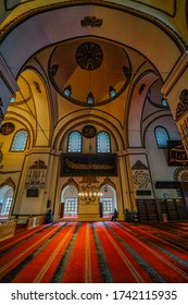 Bursa,Turkey-January 3rd,2019:Beautiful interior design of the Grand Mosque in Bursa with minimum grain effect.This is one of the tourist spot in Turkey.