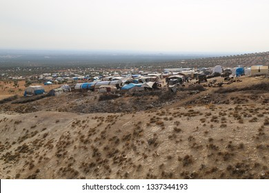 Burseya, Azez, Afrin, Halep/Syria-November 19 2019: Refugee camp for syrian people in Burseya hill, refuge, refugees, Azez,Afrin,Halep.