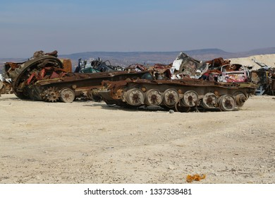 Burseya hill, Azez, Afrin, Halep/Syria-November 19 2019: Syrian civil war, rusty battle tank, damaged tanks, tank pallet.