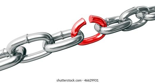 Burst chain on white background (isolated).