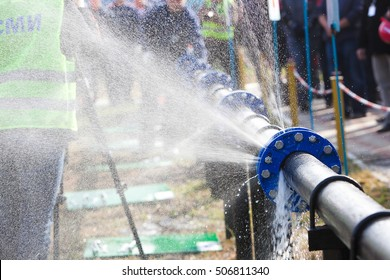 Burst pipe with water