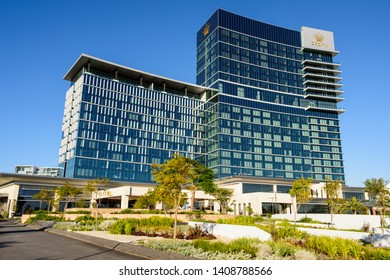 Burswood, Perth, Western Australia - June 8, 2017: Crown Towers Perth hotel by the Crown Perth casino in the afternoon