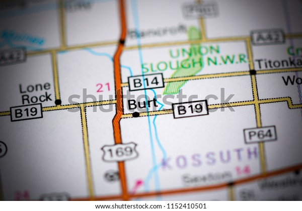 Burt. Iowa. USA on a map