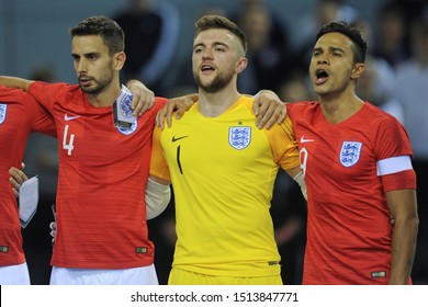 BURTON-UPON-TRENT, ENGLAND - SEPTEMBER 20, 2019: Doug Reed, Mark Croft and Raoni Medina of England during the England vs Germany International Futsal Friendly match at St. Georges Park.