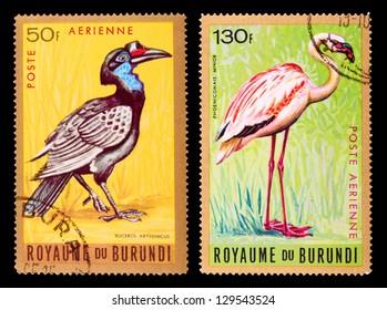 BURUNDI - CIRCA 1965: A set of postage stamps printed in BURUNDI shows birds, series, circa 1965