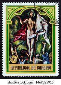 """BURUNDI - CIRCA 1969: A stamp printed in Burundi from the """"Easter"""" issue shows Resurrection by El Greco, circa 1969."""