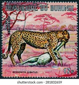 """BURUNDI - CIRCA 1973: A stamp printed by Burundi shows a series of images """"Animal World of Africa"""", circa 1973"""