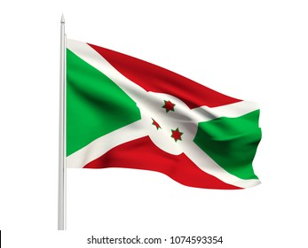 Burundi flag floating in the wind with a White sky background. 3D illustration.
