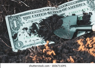 bury the dollar by burying and throwing earth. money throwing away concept