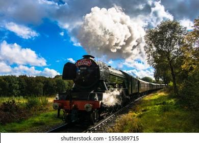 Bury, Lancashire - June 2010: The world famous Flying Scotsman steam engine