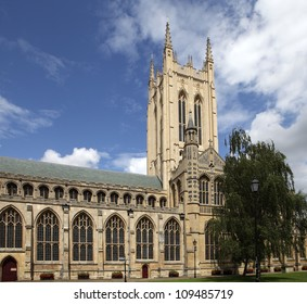 BURY ST EDMUNDS, SUFFOLK, UK - AUGUST 2, 2012: Exterior of St Edmundsbury Cathedral on August 2, 2012. The cathedral originates from St Denis's Church built on the site in 1065.