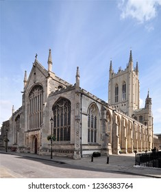 BURY ST EDMUNDS, SUFFOLK, UK - AUGUST 4, 2018. St Edmundsbury Cathedral built in 1503 with later alterations at Bury St Edmunds in the English county of Suffolk, England, UK