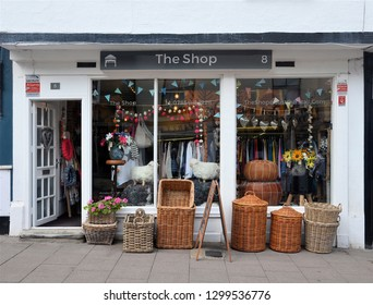 BURY ST EDMUNDS, SUFFOLK, UK - AUGUST 4, 2018. A small shop displays its craft wares on the pavement at Bury St Edmunds in the English county of Suffolk, England, UK.