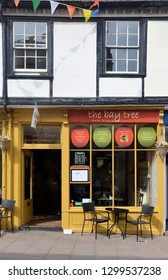 BURY ST EDMUNDS, SUFFOLK, UK - AUGUST 4, 2018. The Bay Tree, a small cafe at Bury St Edmunds in the county of Suffolk, England, UK.