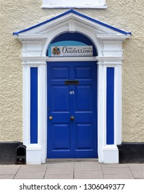 BURY ST EDMUNDS, SUFFOLK, UK - AUGUST 4, 2018. The Odfellows doorway at Bury St Edmunds in the English county of Suffolk, England, UK.