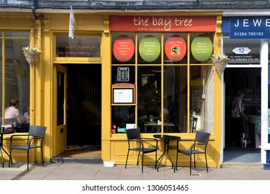 BURY ST EDMUNDS, SUFFOLK, UK - AUGUST 4, 2018. The Bay Tree, a small cafe at Bury St Edmunds, Suffolk, England, UK.