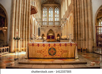 Bury St Edmunds, Suffolk / UK - May 2019: The altar in the St Edmundsbury Cathedral