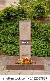 Bury St Edmunds, Suffolk / UK - May 2019: Memorial to the 94th Bombardment Group of the United States Army Air Force in the gardens of St Edmundsbury Cathedral