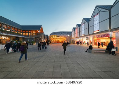 Bury St Edmunds, UK. 27th December 2016, Shoppers walk through the modern Arc shopping centre during the Christmas sales.