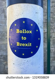 Bury St Edmunds, UK - February 14 2019:  A sticker on a lampost from the campaign for the UK to remain in the European Union