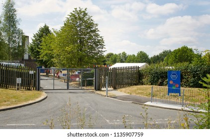 Bury St Edmunds, UK - July 12 2018:  The entrance to the Priory School in Bury St Edmunds