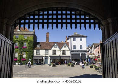 BURY ST EDMUNDS, UK - JULY 19TH 2016: A view of Bury St. Edmunds as seen from underneath the Abbey Gate, on 19th July 2016.