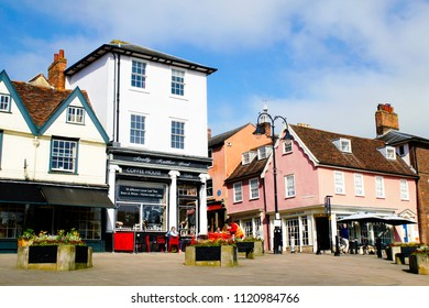 Bury St Edmunds, UK - May 15 2018:  A view of Angel Hill in Bury St Edmunds on a sunny day